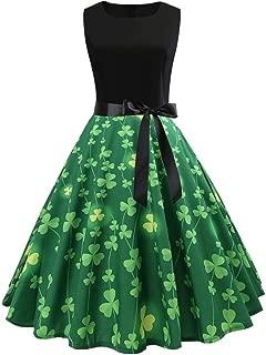 2019 Womens ST Patrick's Day Costume Vintage Floral Swing Cocktail Dress Irish Shamrock Capsleeve Midi Dress