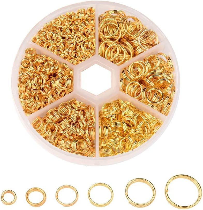 Spiral Small Key Chain Ring Split Rings Key Chains Gold Jump Ring for Keys Organization 4-10mm Plated Gold