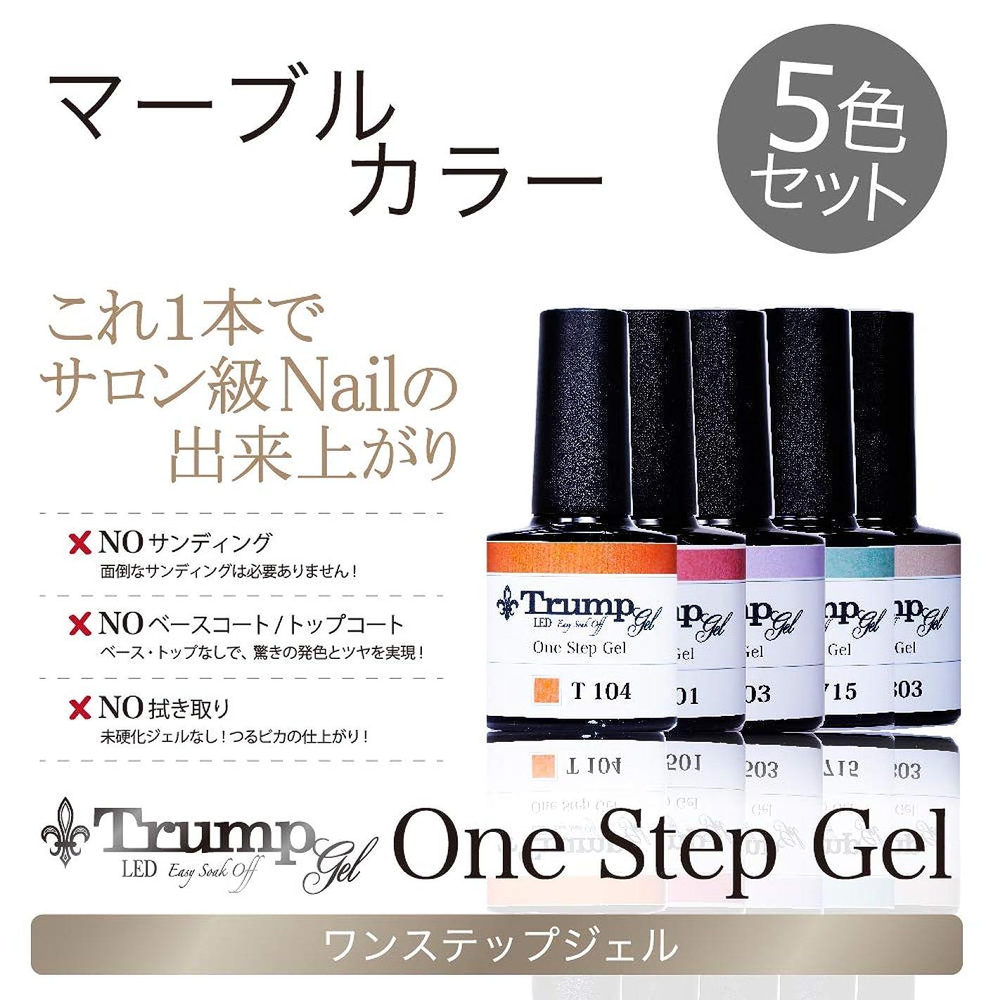 ローブカリキュラム公平な【日本製】Trump gel トランプジェル ワンステップジェル ジェルネイル カラージェル 5点 セット スモーキーモーヴ ボルドー ブラック マーブル (マーブルカラー5色セット)