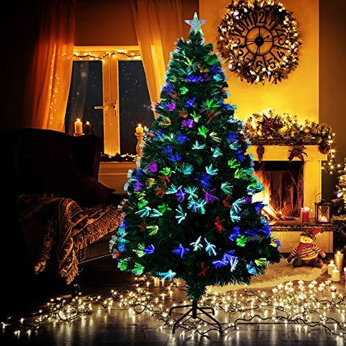 LOMOFI Albero di Natale Artificiale,150cm Albero di Natale in Fibra Ottica con 190 PVC Rami,Luci LED Colorate Christmas Tree con Base Metallica