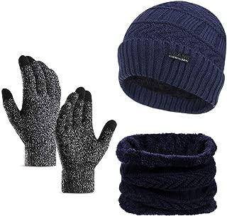 3Pcs Winter Beanie Hat Scarf Touchscreen Gloves Set Warm Knit Hat Thick Knit Skull Cap for Men Women