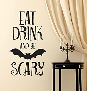 BIBITIME Halloween Vinyl Bat Decal for Wall Sticker Sayings Words EAT DRINK AND BE SCARY Quotes for Living Room Home Party PVC Decorations Art Mural Shop Showcase Decor