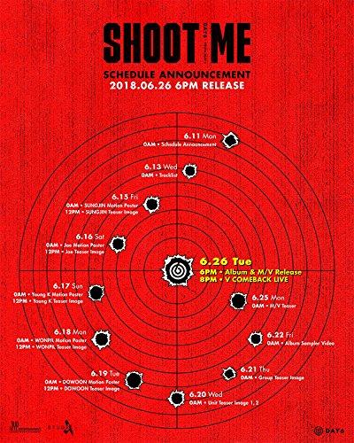 JYP Entertainment DAY6 - Shoot Me : Youth Part 1 [Random ver.] (3rd Mini Album) CD+Photobook+Clear Cover+Photocards+Tatoo Sticker