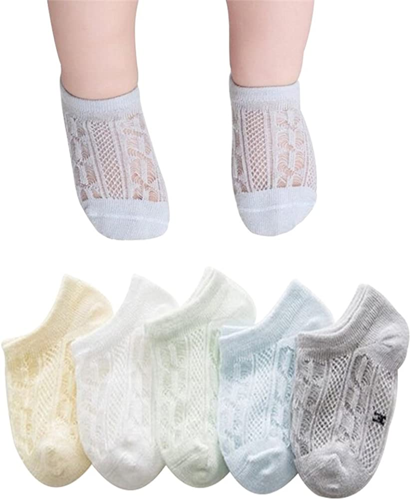 Ehdching 5 Pairs Baby Socks Summers Breathable Cotton Mesh Thin Lace Socks for Baby Infant Toddler Boys
