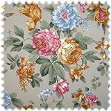 Möbelstoff Flora Eden Rose Hellgrau in Englisch Leinen