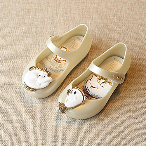 DAMAJIANGM Mary Jane Shoes Waterproof Low-cut Jelly Sandals With Cartoon Decor Unisex white 27