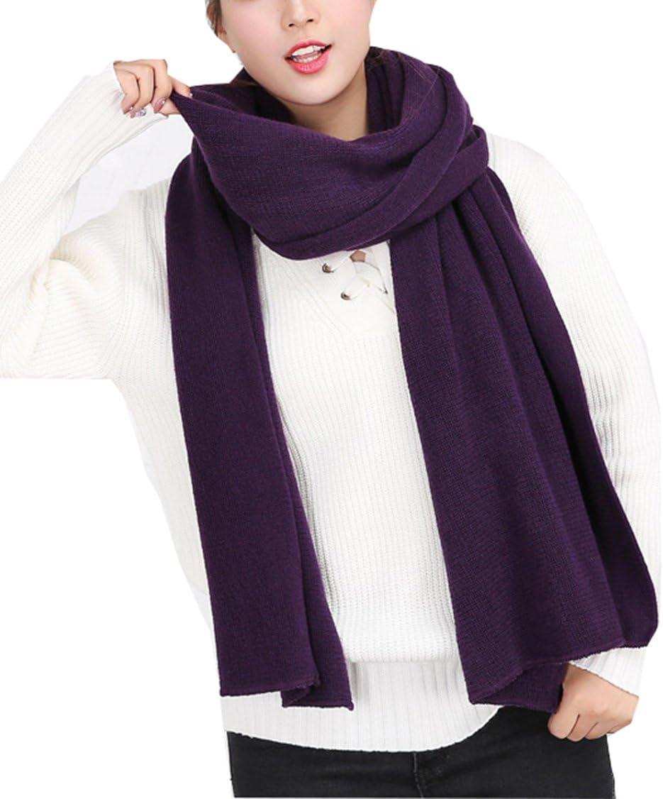 Wander Agio Womens Warm Long Shawl Winter Scarfs Large Scarf Pure Color Purple