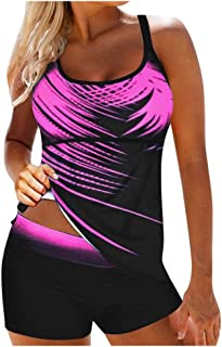 7 Womens Blouson Striped Printed Strappy T-Back Push up Tankini Top with Shorts Plus Size EAZsyn8