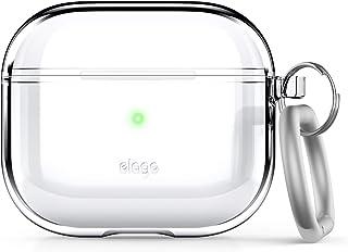 elago Clear Hoesje met Sleutelhanger Compatibel met AirPods 3 Hoes, Gel Tape Inbegrepen, Verminderd Vergelen, Heldere Besc...