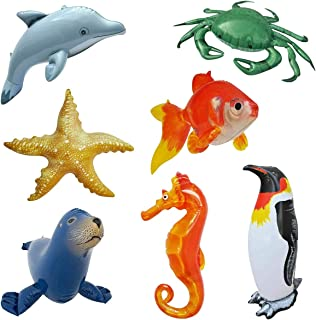 Jet Creations Inflatable Goldfish Ocean Life Sea Aquatic Underwater Assorted Bathtub Toys Educational 7 Count, Size About 20 inch Each, JC-AQUA7