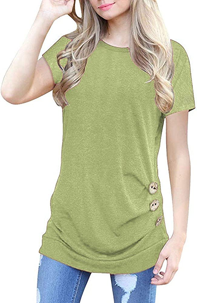 Eduavar Summer Tops for Women Girls Fashion Solid Color Short Sleeve T-Shirts V-Neck Comfy Tee Shirts Ladies Tunic Tops