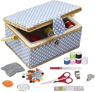 Medium Sewing Box with Kit Accessories Sewing Basket Organizer with Supplies DIY Sewing Kits for Adults, Blue Polka Dots