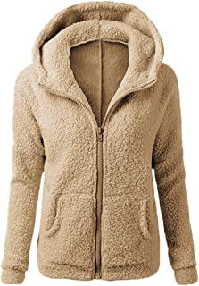 comprar comparacion Chaqueta Mujeres de Invierno de Lana Cálida Cremallera Abrigo con Capucha Casual Suéter Abrigo de Algodón Outwear Hoodie riou