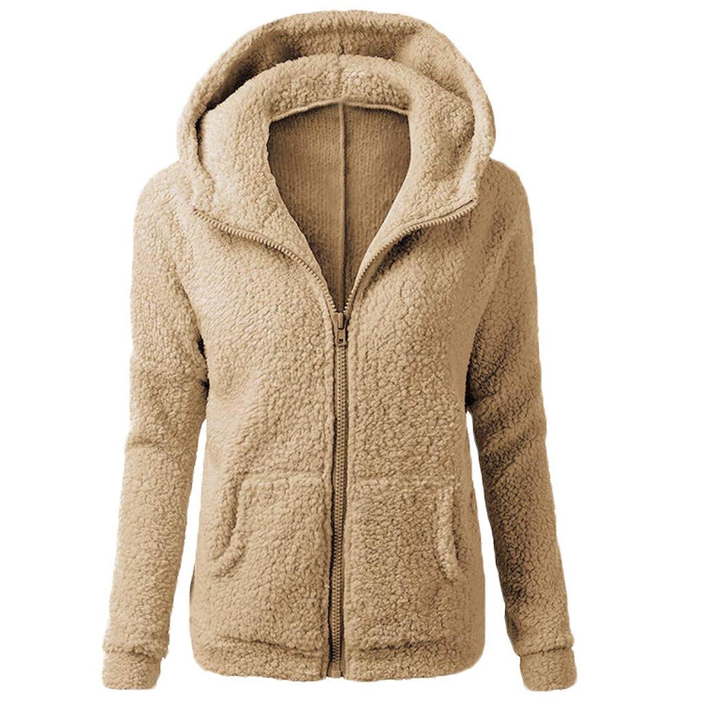 Inverlee Women Hooded Sweater Coat Winter Warm Wool Zipper Coat Cotton Coat Outwear huprccianem490