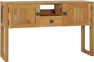 pedkit Mesa Consola con 2 Puertas 1 Estante y 1 Cajón Mesa Auxiliar de Madera Maciza de Teca 120x35x75 cm