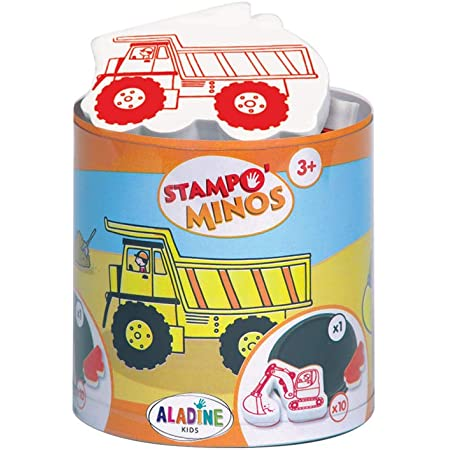 Aladine - Stampo Minos Chantier - Kit Tampons Enfant - Activités Manuelles Fille et Garçon - Encre Lavable - Jouets et Jeux Créatifs - Boîte de Tampons + Grand Encreur Inclus - Dès 3 ans