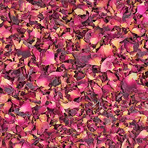 Dried Rose Petals Real. 100% Organic & Pure. 75g. Use Edible Rose Petals in Tea, Candle Making, Pot Pourri or as Natural Biodegradable Confetti for Weddings.