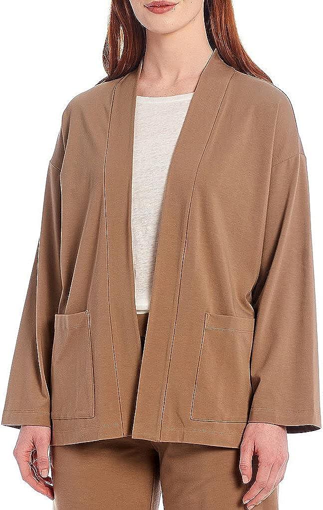 Eileen Fisher Drift Wood Organic Cotton Stretch Jersey High Collar Jacket Size L MSRP $158