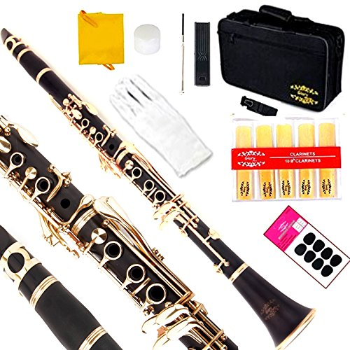 Glory Black/Gold keys Clarinet B Flat with 2 Barrels, 11reeds,8 Pads cushions,case,carekit CLICK to see more Colors