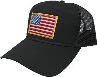 214203c141d AC Racing USA American Flag Patch Snapback Trucker Mesh Cap - Black