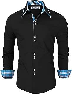Mens Trendy Slim Fit Inner Checkered Button Down Shirt