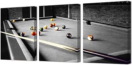 HOMEOART Pool Room Billiards Pictures Canvas Art Print Snooker Shooting Pool Photo Framed Canvas Prints 12x16inchx3Panels