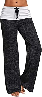 Yudesundo Womens Pants Casual Trousers - Straight Leg Pants with Drawstring Tracksuit Bottoms Comfortable Pajama Pants