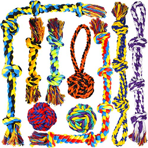 Large Dog Chew Toys, Tough Dog Toys for Aggressive Chewers Large Breed,Heavy Duty Dental Dog Rope Toys Kit for Medium Dogs,5 Knots Indestructible Dog Toys, Cotton Puppy Teething Chew Tug Toy Set of 9