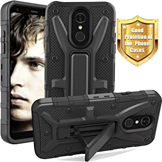 LG Q7 Case, LG Q7+ Case, LG Q7 Plus Case, Yiakeng Dual Layer Shockproof Wallet Slim with Kickstand Hard Phone Protective Cases Cover for LG Q7 (Black)