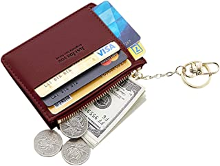 Small Wallets for Women, Slim Pocket Wallet Lady Mini Purse Leather Card Case Short Wallet with Keychain
