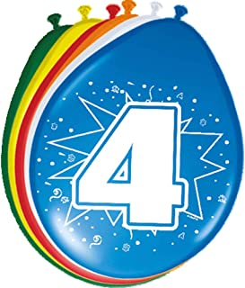 Folat 8204 8 luftballonger för 4: e födelsedag blandade färger
