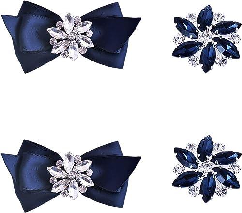 Elegantpark AJ Crystal Rhinestones Strass Fleur Amovible Accessoires Bijoux de chaussures 2 pc