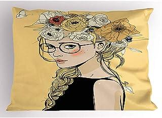 4Pcs 18X18 Inch Funda De Almohada Femenina,Jovencita De Dibujos Animados Con Diadema De Flores Mariposa Ilustración De Tono De Verano,Para El Hogar Funda De Almohada Impresa King Size Estándar