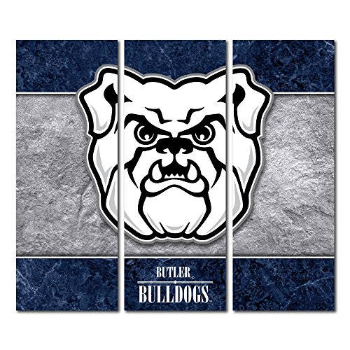 Victory Tailgate Butler Bulldogs Canvas Wall Art Triptych Double Border Design (48x54 Triptych) image