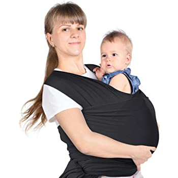 Lictin Baby Wrap-Baby Carrier Adjustable Breastfeeding Cover Cotton Baby Carrier for Infants up to 35 lbs/16kg, Soft and Comfortable to Use with Storage Bag (Black)