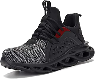 Men'S Steel Toe Cap Safety Protection Shoes, Lightweight Breathable Insulated Industrial Sports Shoes, Fly-Woven Hiking Sh...