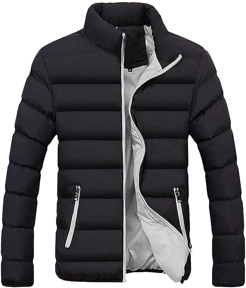 Down Alternative Jacket, Men's Classic Color Patch Zip Up Thermal Coat Outerwear Plus Size Warm Clothes
