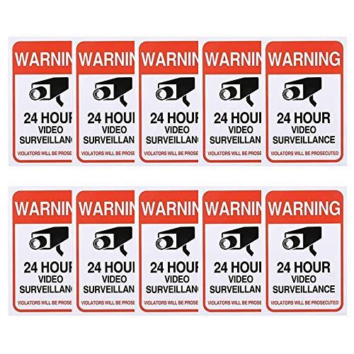 Kalolary 10 Pack Video Surveillance Signs, CCTV Signs Zelfklevende Window Stickers 24 uur CCTV in Operation Sign, voor binnen of buiten gebruik Home Business-300 x 210 mm