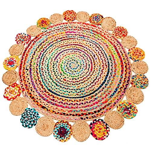 Sadivi Alfombra de algodón y yute multicolor, tejida a mano, trenzada, reversible, los colores pueden variar