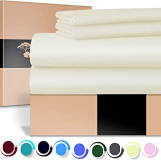 URBANHUT Egyptian Cotton Sheets Set - 700 Thread Count 100% Cotton King Size Sheets (4 Piece), Luxury Bed Sheets King, Deep Pocket, Soft & Silky Sateen Weave (Ivory)