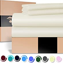 URBANHUT Egyptian Cotton Sheets Set (4 Piece) 700 Thread Count - Bedspread Deep Pocket Premium Bedding Set, Luxury Bed Sheets Sateen Weave King Off-white 43256-6171