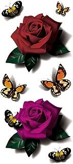 TAFLY Waterproof 3D Red Butterfly Rose Flower Sticker Tattoo Foil Decal Body Art Fake Tattoos
