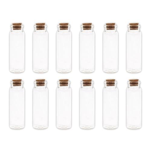 Lot de 40 Petite Bouteille en verre transparent bouchon en liège fiole GF-04