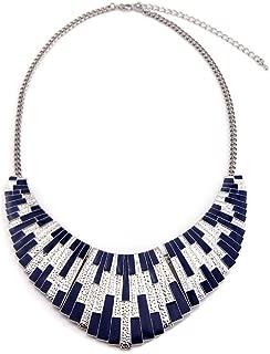 Women Statement Necklace Multicolor Metallic Strip Bib Charm for Dress Fashion