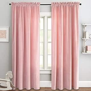 Velvet Curtain Pink Living Room Rod Pocket Window Curtain Panel 95 inch Long Bedroom Thermal 1 Panel