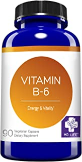 Vitamin B6 by MD.LIFE Vitamin B6 50 mg - Sports Energy Metabolism and Nervous System Health - 90ct - Vitamin Supplement
