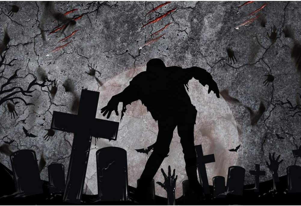 DaShan 12x10ft Horrible Halloween Backdrop Scary Graveyard Zombie Haunted Witch Wizard Sorcerer Theme Halloween Party Photography Background Gloomy Ghost Hands Wizard Halloween Photo Props