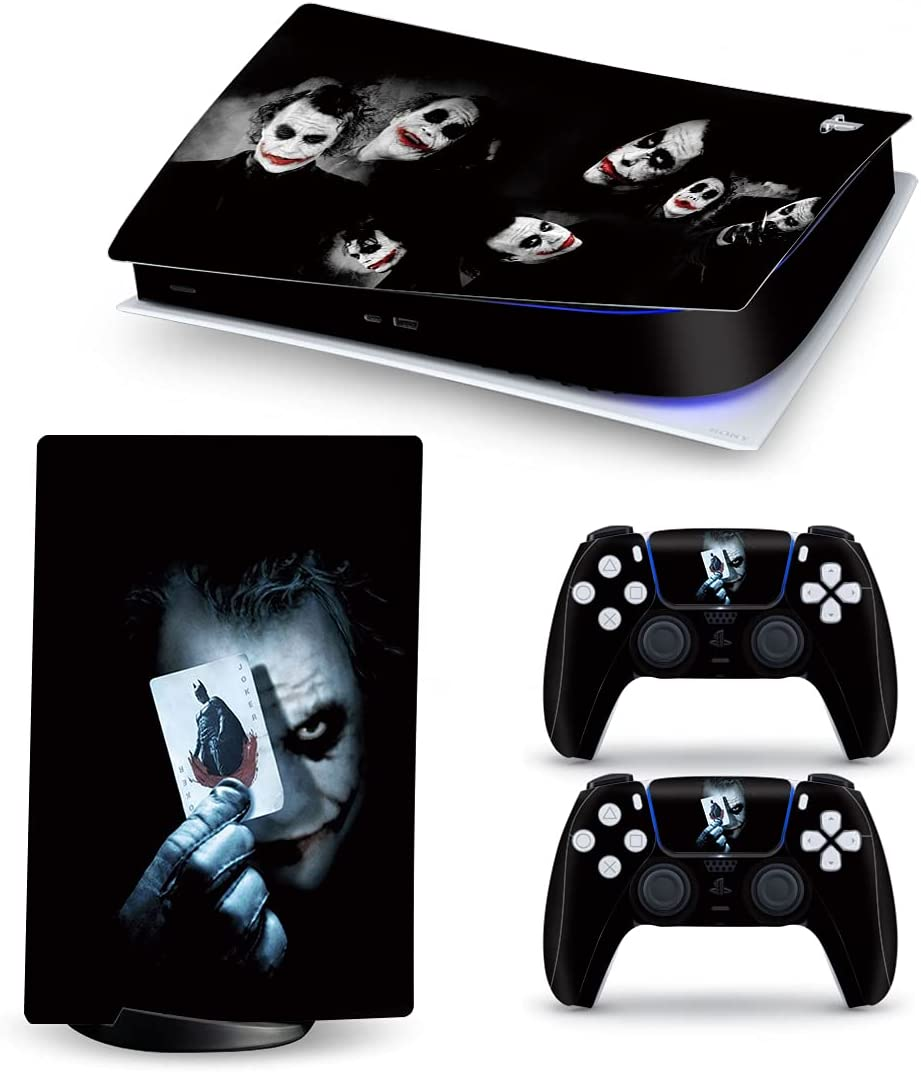 Mmoptop PS5 Skin Digital Edition Joker Console and Controller Vinyl Cover Skins Wraps for Playstation 5 Digital Edition