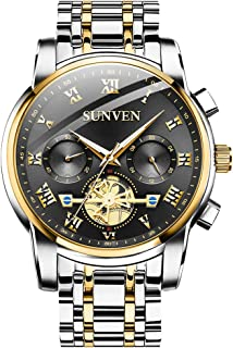 SUNVEN Men Watches Waterproof Quartz - Business Wristwatch Gold Stainless Steel Sapphire Face Multi-Function Displays Luminous Hands (blackGS)