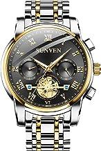 SUNVEN Men Watches Waterproof Quartz - Business Wristwatch Gold Stainless Steel Sapphire Face Multi-Function Displays Luminous Hands (blackGS)